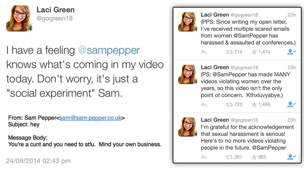 Laci Green's tweet's regarding Sam pepper